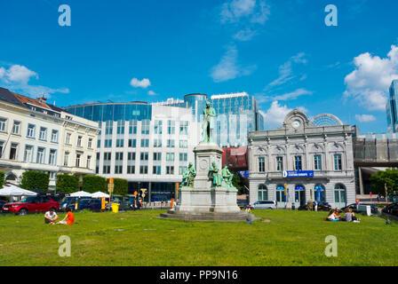 Place du Luxembourg, Leopold Quarter, Brussels, Belgium - Stock Photo