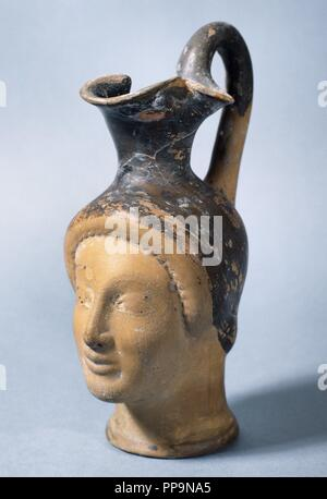 Greek art. Spain. Catalonia. Oenochoe, wine jug. Found in Empuries. 5th century BC. Archaeological Museum of Catalonia. Girona. - Stock Photo