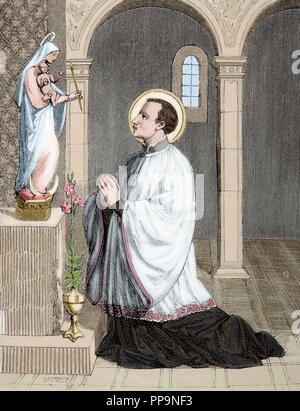 Saint Aloysius Gonzaga (1568-1591). Italian Jesuit. Engraving by Castello. Christian Year, 1852. Colored. - Stock Photo