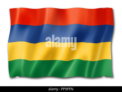 Mauritius flag, three dimensional render, isolated on white - Stock Photo
