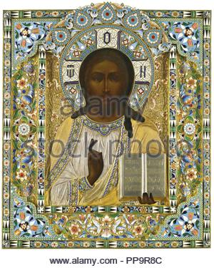 Christ Pantocrator. (On the Occasion of the Miraculous Rescue during the Imperial Train's Accident, 17 October 1888). Museum: PRIVATE COLLECTION. Author: Ovchinnikov, Pavel Akimovich. - Stock Photo
