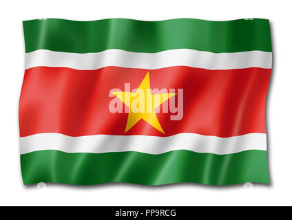 Suriname flag, three dimensional render, isolated on white - Stock Photo