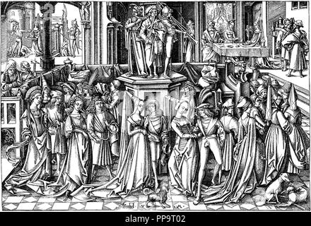 The Dance at the Court of Herod. Museum: PRIVATE COLLECTION. Author: Meckenem, Israhel van, the Younger. - Stock Photo