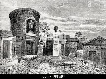 The Old Calton Burial Ground, Calton Hill, Edinburgh, Scotland, 19th century - Stock Photo