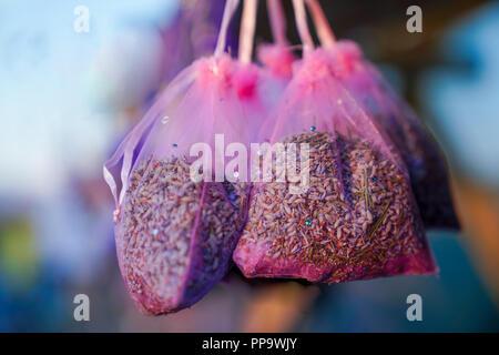 Lavender sacks on sale as souvenir in Kuyucak Vilage, Isparta, Turkey. - Stock Photo
