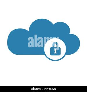 cloud computer storage with lock safety concept symbol vector illustration EPS10 - Stock Photo