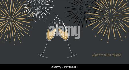 happy new year greeting card two champagne glasses and fireworks on a grey background vector illustration EPS10 - Stock Photo