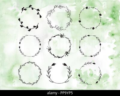Handpainted Branches Wreath Clip Art - Stock Photo