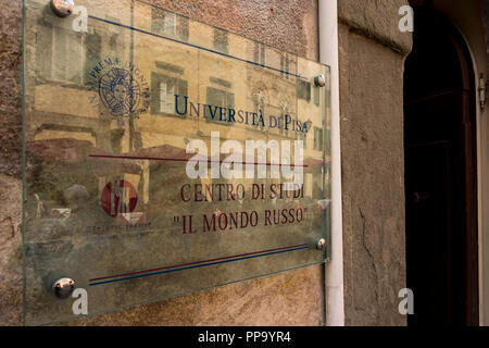 The Russian World, Study Centre at University of Pisa plaque, Pisa, Tuscany, Italy - Stock Photo