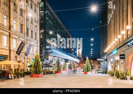 Helsinki, Finland - December 6, 2016: Night View Of Keskuskatu Street In Evening Christmas New Year Xmas Festive Illumination. Kauppakeskus Citycenter - Stock Photo