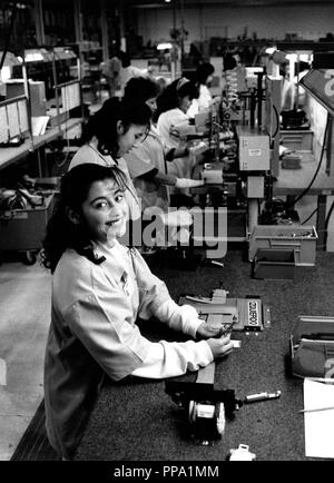 Interior from the Autoliv seat-belt factory in Tijuana, Mexico - Stock Photo