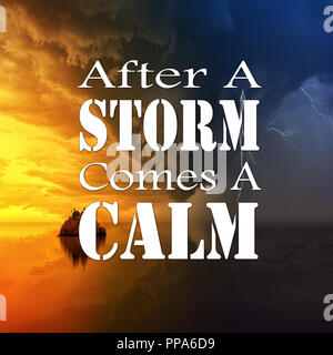 After A Storm Comes A Calm Lettering Poster Raster Stock Photo