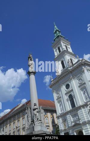 Saint Anne's Church, Szent Anna Templom, holy trinity column in front, Szervita tér, Budapest, Hungary - Stock Photo