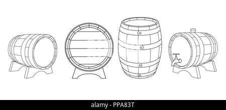 Wooden barrels vector hand drawn vintage style illustrations set. Barrel sketch. Alcohol, wine, beer or whiskey old wood keg. - Stock Photo