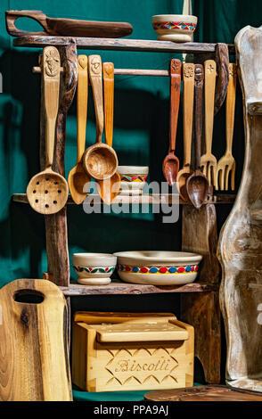 Italy Turin Lingotto 22th September 2018 Terra Madre - Salone del Gusto - Piedmont wood handicraft - wooden kitchen utensils - Stock Photo