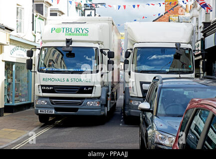 Traffic congestion in Sidmouth, Devon, England UK - Stock Photo