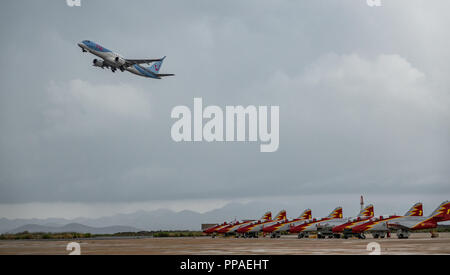 Advanced jet trainer CASA C-101 Aviojet, known as Eagle Patrol and plane taking off - Stock Photo