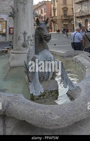 Italy Marche Ascoli Piceno particle of fountain - Stock Photo
