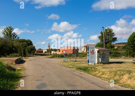 CAMINO DE SANTIAGO, SPAIN - AUGUST 8, 2018 - Along the way of St.James, in Santibáñez de Valdeiglesias - Stock Photo