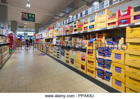 Candies, cookies and biscuits for sale Lidl discount supermarket, Moore Street, North City, Dublin, Leinster, Ireland - Stock Photo
