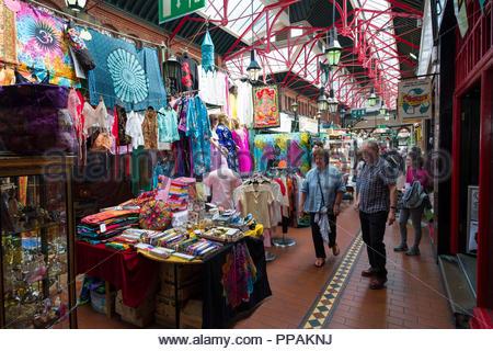 Stalls selling various items inside George's Street Arcade, Dublin, Leinster, Ireland - Stock Photo
