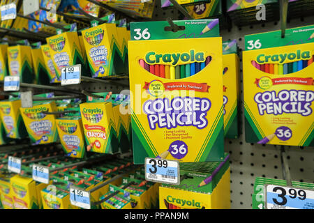 Crayola Display in Kmart, NYC, USA - Stock Photo