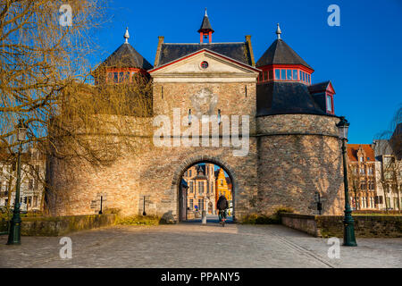 The antique Donkey's gate built during the construction of the second ring of ramparts in Bruges - Stock Photo