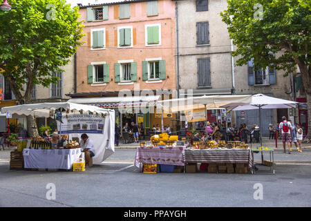 street market with regional products at the annual festival of lavender honey in Riez, Provence, France, department Alpes-de-Haute-Provence - Stock Photo