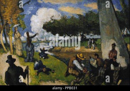 Paul Cezanne (1839-1906). French Post-Impressionist painter. The Fishermen (Fantastic Scene). Ca. 1875. Oil on canvas. Metropolitan Museum. New York. United States. - Stock Photo