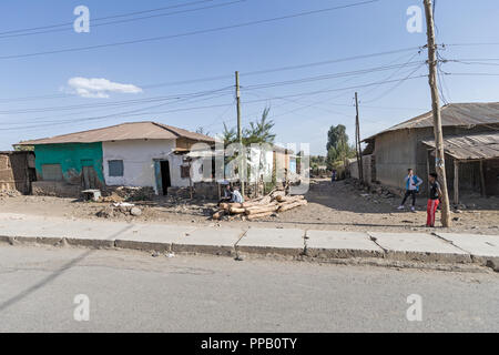 Villages, Amhara Region, Ethiopia. Waiting for something to happen. - Stock Photo