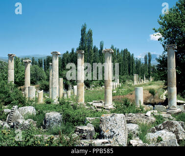 Turkey. Asia Minor. Ephesus . Ancient Greek city, and later a major Roman city. Coast of Ionia. Commercial Agora. Was built in the III century BC . Hellenic period. The ruins of present-day date of III AD. Near Selcuk. - Stock Photo