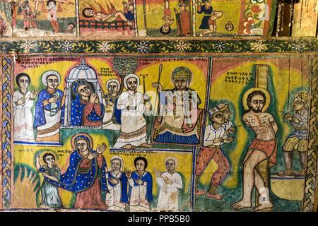 Stories of the New Testament, Frescos, Ura-Kidane Miheret monastery, Zenge Peninsula, Lake Tana, Ethiopia - Stock Photo