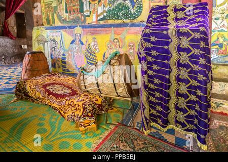 Drums, Lecturn , Frescos, Ura-Kidane Miheret monastery, Zenge Peninsula, Lake Tana, Ethiopia - Stock Photo
