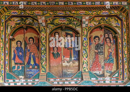 Frescos, Ura-Kidane Miheret monastery, Zenge Peninsula, Lake Tana, Ethiopia - Stock Photo
