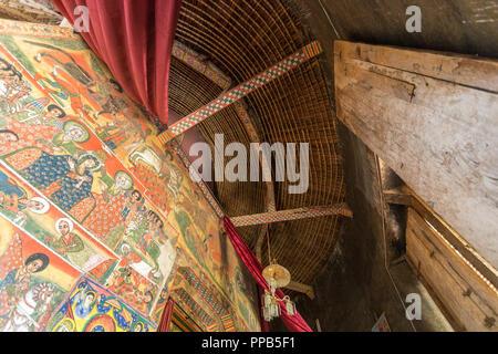 Ceiling and Frescos, Ura-Kidane Miheret monastery, Zenge Peninsula, Lake Tana, Ethiopia - Stock Photo