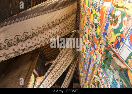 Ceiling with curtains to protect Frescos, Ura-Kidane Miheret monastery, Zenge Peninsula, Lake Tana, Ethiopia - Stock Photo
