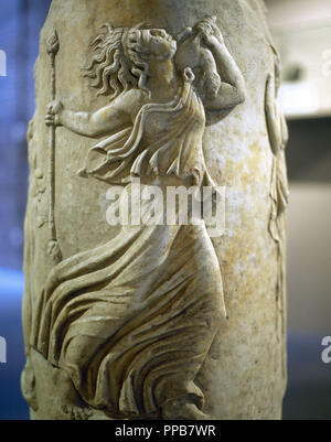 Dancing Maenad. Circular Altar. Pulpitum of the Italica Theater. 1st century. Archaeological Museum. Seville. Spain. - Stock Photo