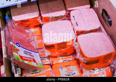 Nea Moudania,Greece,August 09, 2018:Interior of a Lidl market, Lidl is a German discount chain supermarket,salami and ham in vacuum packing on sale - Stock Photo