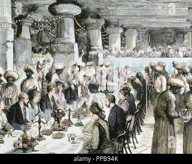 Travel to India of the Prince of Wales. Gala Dinner held in the Underground Temple of Elephanta on the occasion of the visit of the Prince. Recorded the 19th century. Coloured. - Stock Photo