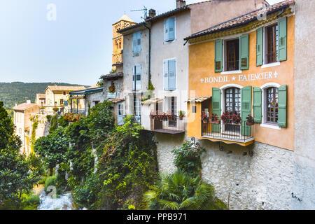 village Moustiers-Sainte-Marie, Provence, France, member of most beautiful villages of France, department Alpes-de-Haute-Provence - Stock Photo