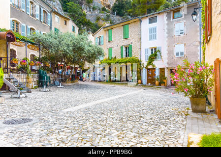 central place of village Moustiers-Sainte-Marie, Provence, France, member of most beautiful villages of France, department Alpes-de-Haute-Provence - Stock Photo