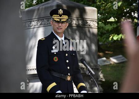 Brigadier Gen. Tony L. Wright, 88th Readiness Division deputy commanding general, speaks during at a wreath laying ceremony for President Benjamin Harrison at Crown Hill Cemetery, in Indianapolis, on Aug. 18, to commemorate the Hoosier President's 185th birthday. (US Army - Stock Photo