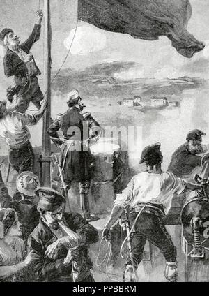 Spain. Cantonal Revolution. Murcia. Cartagena. Capitulation of Cartagena, January 12, 1874 after the siege of Canton by General Jose Lopez Dominguez. Engraving. La Ilustracio_n Ibe_rica, 1898. - Stock Photo