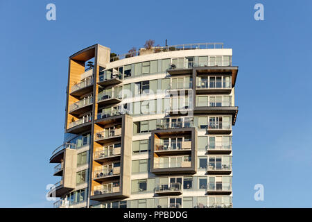 Close-up of a new high-rise residential building in South Granville, Vancouver, BC, Canada - Stock Photo