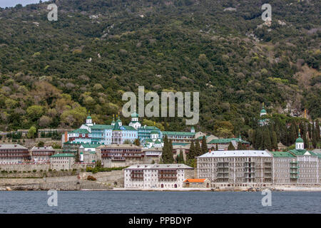 Saint Panteleimon (Saint Pantaleon) Monastery at Mount Athos in Autonomous Monastic State of the Holy Mountain, Chalkidiki, Greece - Stock Photo