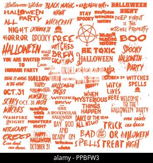 Set of Halloween quotes for posters about Halloween party and Scary