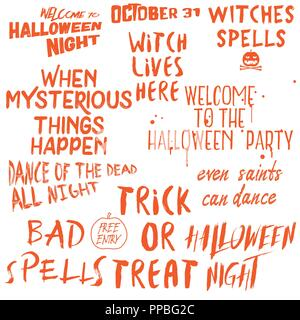 Halloween lettering phrases overlay set  Scary quotes