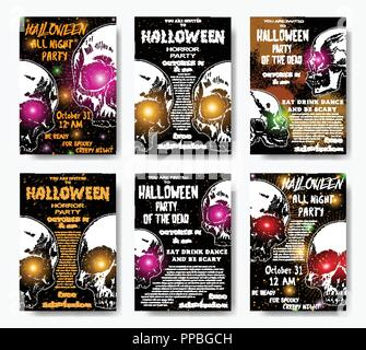 Collection of stylish black, orange, white Halloween invitation posters and cards with skulls background. Set of printable hand drawn Halloween greeti - Stock Photo