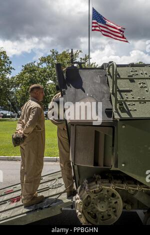 U.S. Marine Corps Amphibious Assault Vehicle crewmen standby to brief Lt. Gen. Robert F. Hedelund, II Marine Expeditionary Force commanding general, on the capabilities of AAVs and how they compare to the Marine Corps' new Amphibious Combat Vehicle at Camp Lejeune, N.C., Aug. 28, 2018. The ACV has undergone testing for the past two years at various facilities including the U.S. Army Aberdeen Test Center in Aberdeen, Md. and the Amphibious Vehicle Test Branch on Camp Pendleton, Calif. The ACV has a landward maneuverability and mobility superior to the AAV and will eventually be replacing it as  - Stock Photo