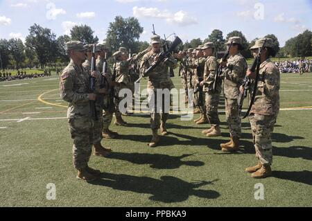 A platoon leader twirls his weapon while marching through opposing ranks of Soldiers who completed weapon tosses to each other as he passed through during the 23rd Quartermaster Brigade Drill and Ceremony Competition Aug. 23 at Fort Lee. - Stock Photo